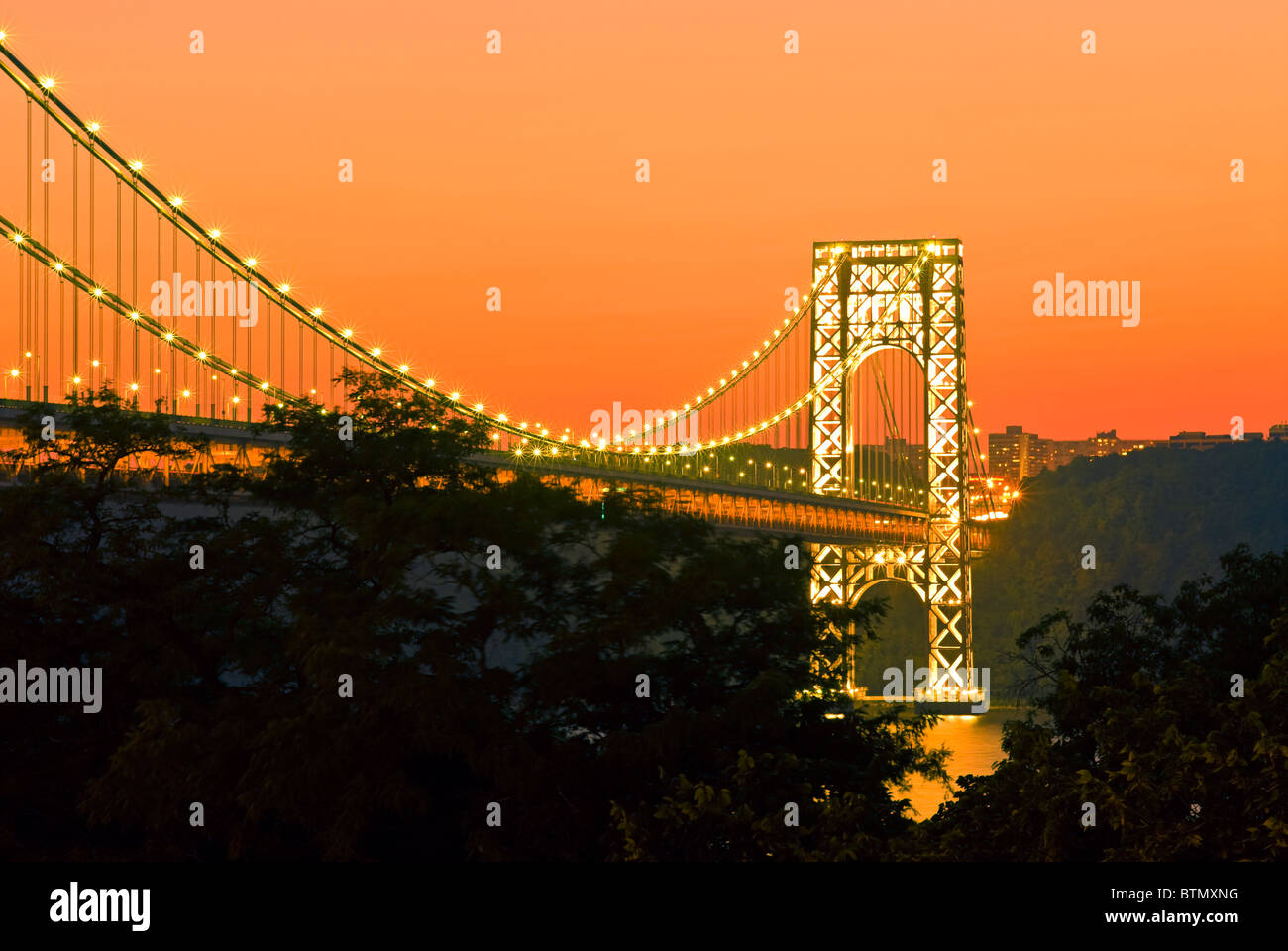George Washington Bridge New Jersey, at sunset from New York City - Stock Image