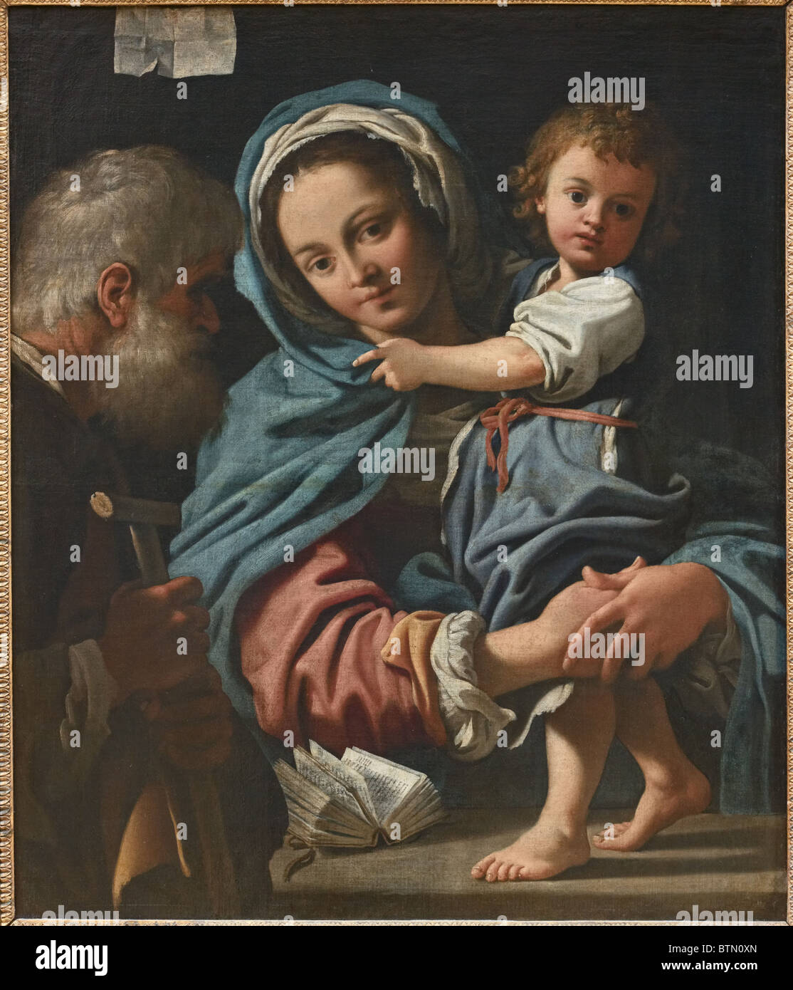 Holy Family by Italian early Baroque painter Bartolomeo SCHEDONI, c 1610-12, Louvre Museum Paris - Stock Image