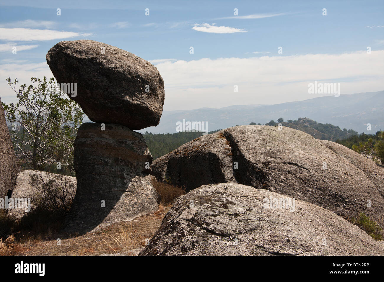 Rock lost in the middle of Serra do Gerês in Portugal that looks like an Alien. Stock Photo