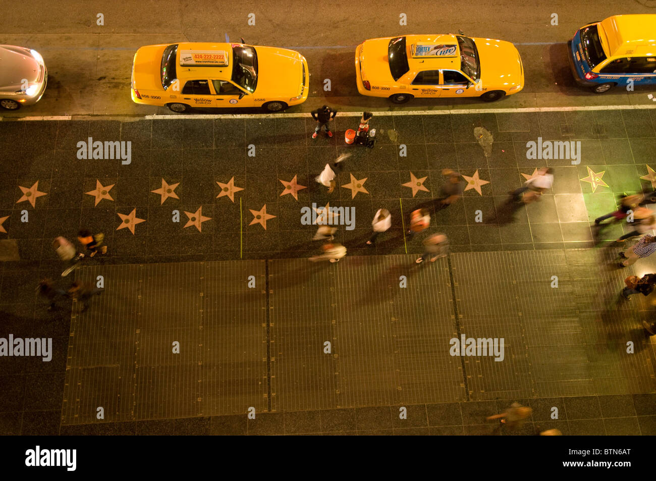 Stars on sidewalk of Hollywood Walk of Fame Hollywood Boulevard Hollywood Los Angeles Southern California USA - Stock Image