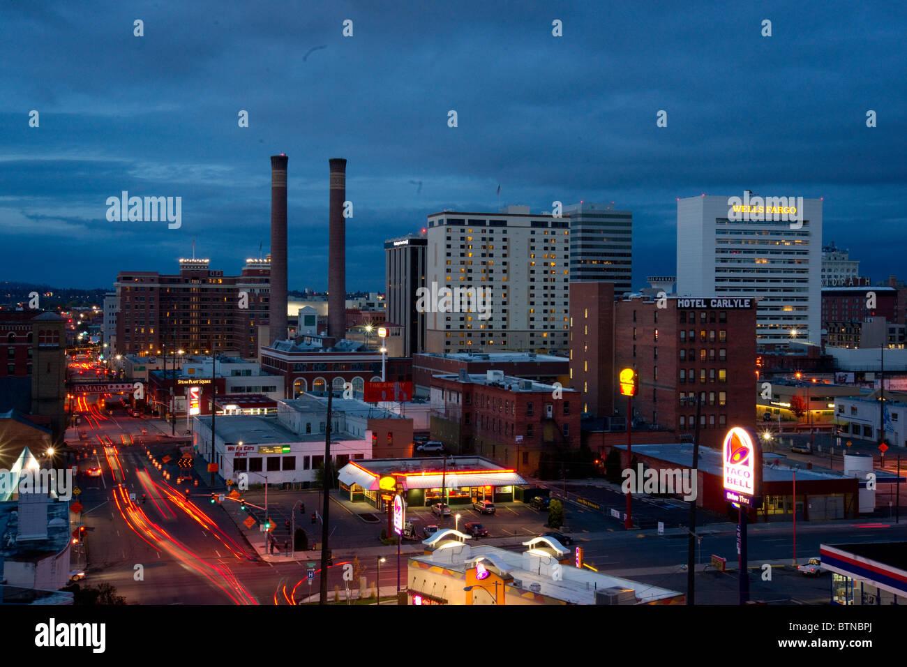 Downtown Spokane Washington at Dusk Stock Photo