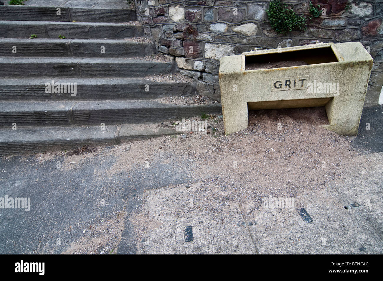 A container of grit used to keep sidewalks and pavements clear of ice in Bristol, UK. - Stock Image