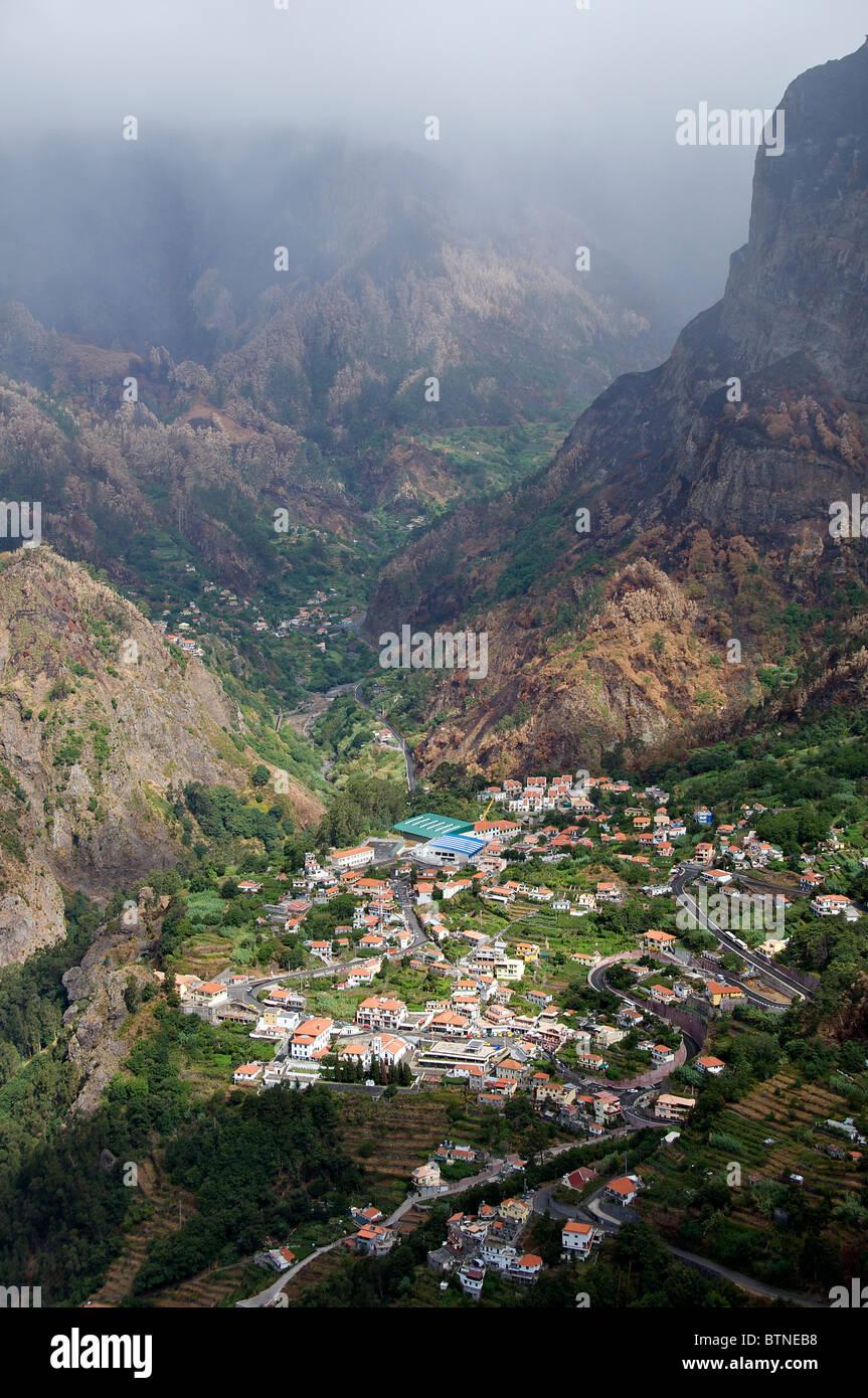 Aerial view Curral das Freiras Central Madeira Portugal - Stock Image