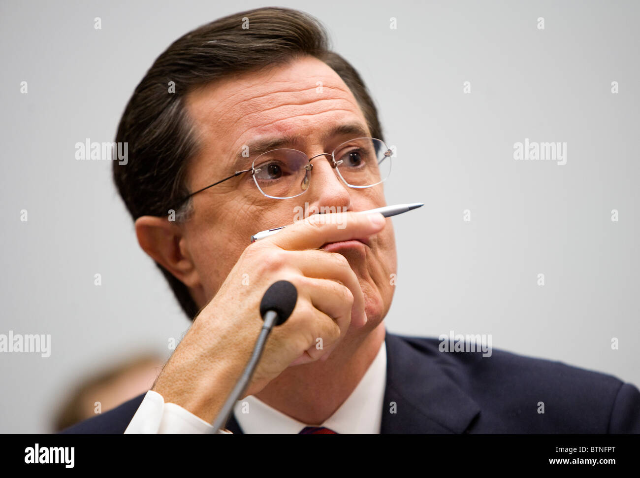 Actor and comedian Stephen Colbert testifies before Congress.  - Stock Image