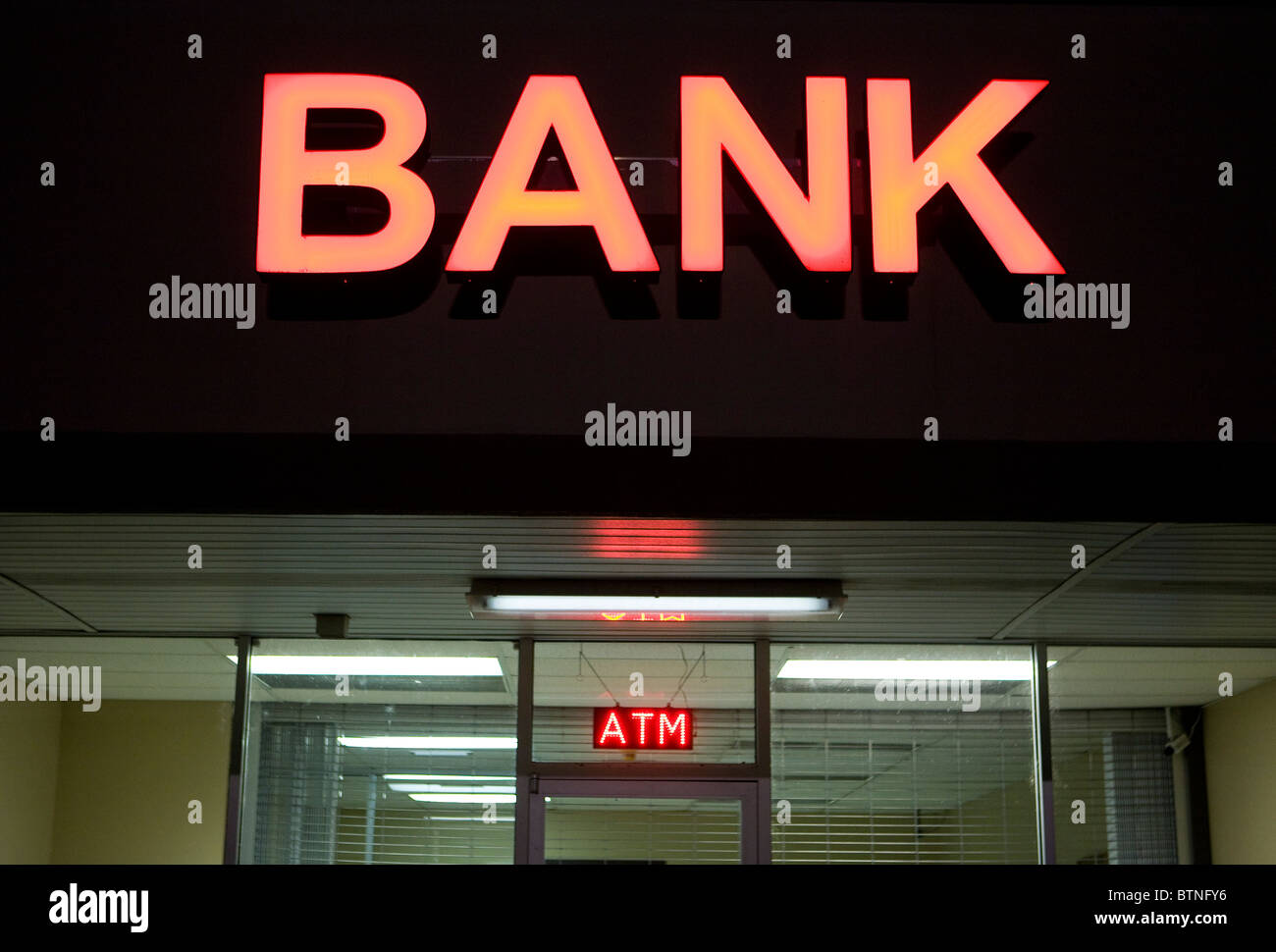 A Bank neon sign.  - Stock Image