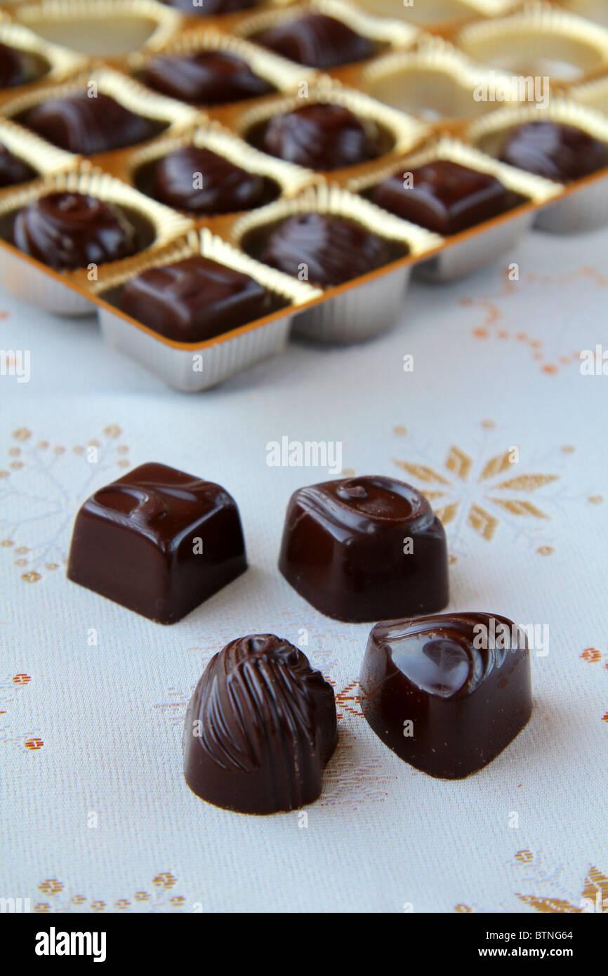 Chocolates For Christmas On Beautiful Background Stock Photo