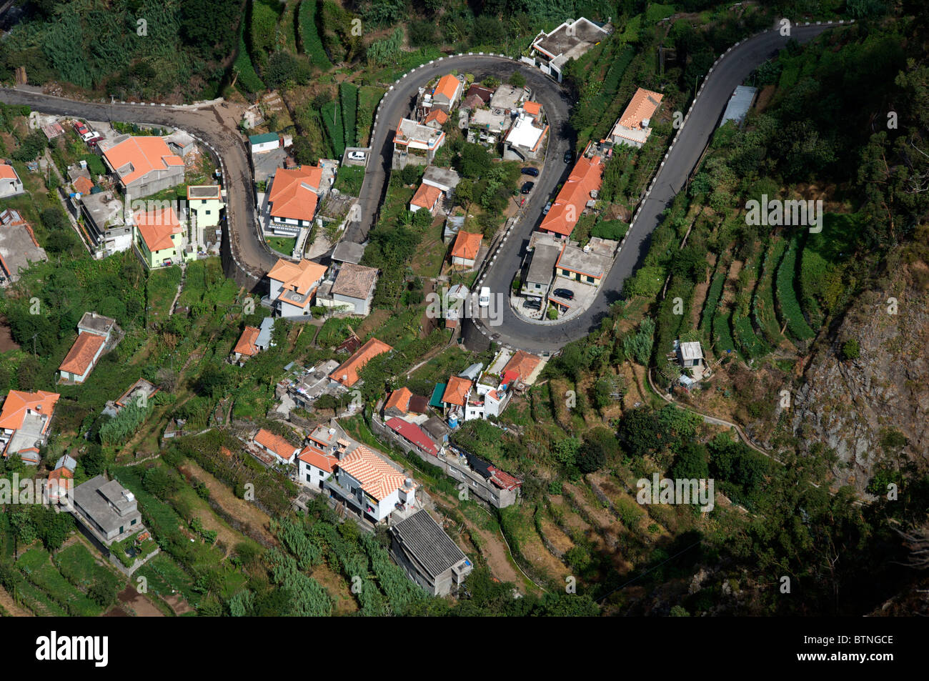 Aerial view winding road Curral das Freiras Central Madeira Portugal - Stock Image