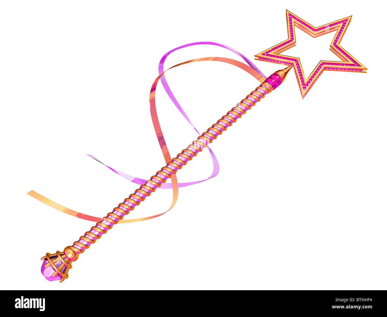 Isolated illustration of a pink and gold fairy wand - Stock Image