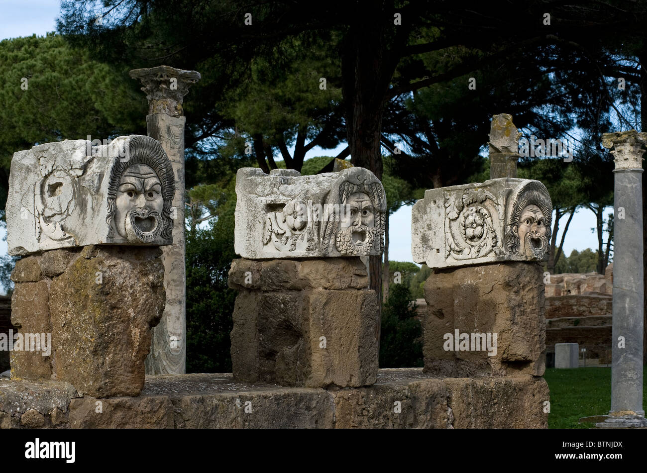 Stone masks in the ancient theater. Ostia Antica, Rome, Italy - Stock Image