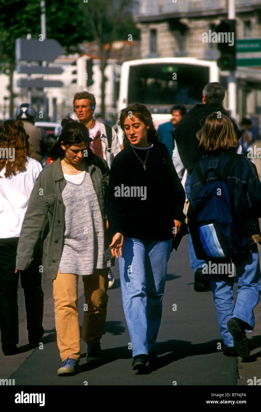 French People Students Lycee Charlemagne Stock Photos: Frenchwomen French People Women Females Walking Along