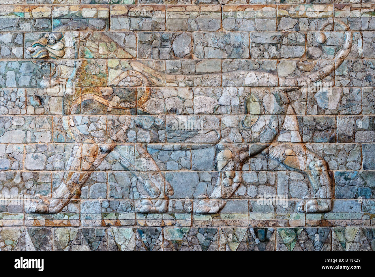 Frieze of Lions, from the reign of Darius I, ca 510 BC from his palace in Susa, Louvre Museum Paris - Stock Image