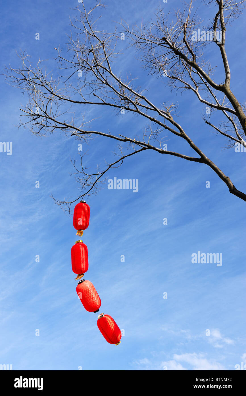 Chinese red lanterns - Stock Image