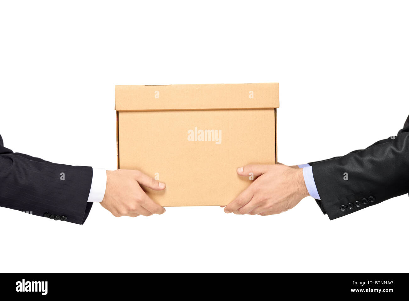 A businessman delivering a paper box to a man - Stock Image