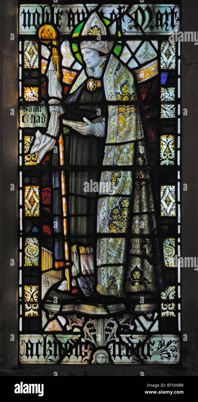 Saint Chad, detail of 'Te Deum'  East window. Church of Saint Andrew, Dent,  Dentdale, Yorkshire Dales National - Stock Image
