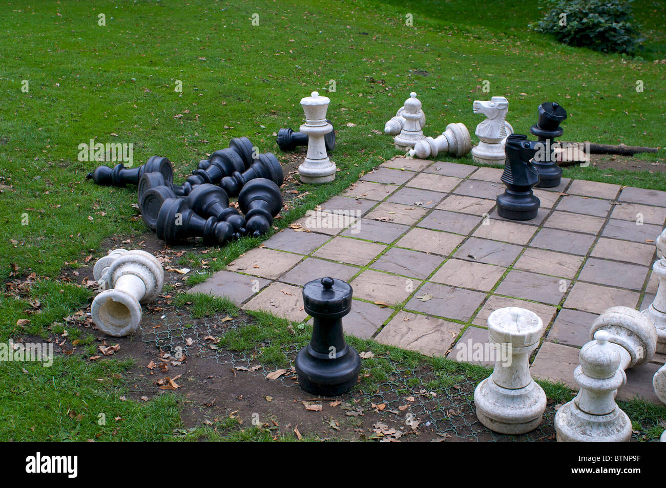 Charmant Outdoor Chess Set In A Grassy Area   Stock Image