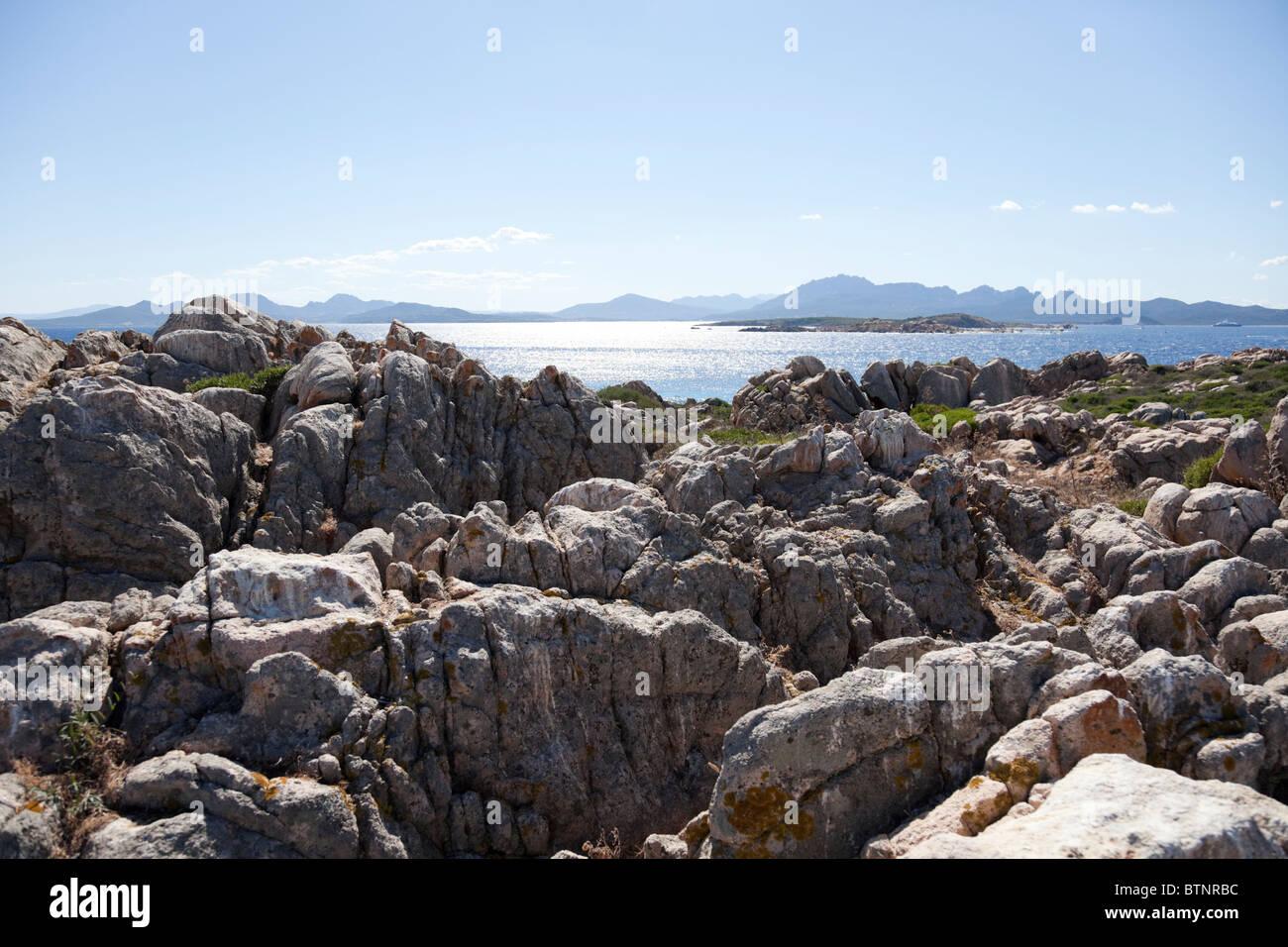 The geological feature of northern Sardinia, massive granite rocks. - Stock Image