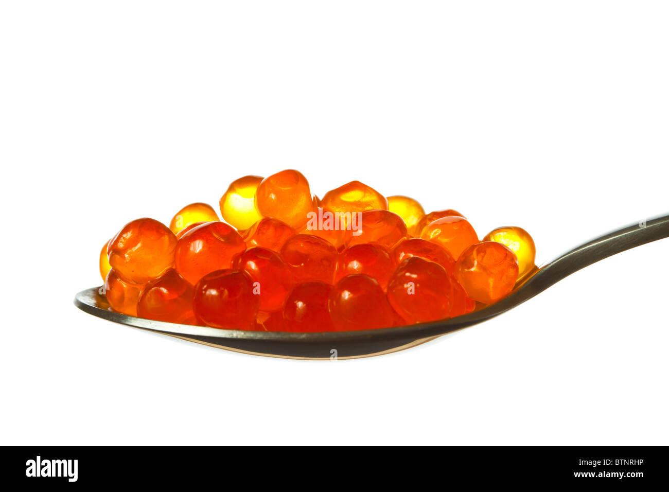 spoon caviar isolated Stock Photo