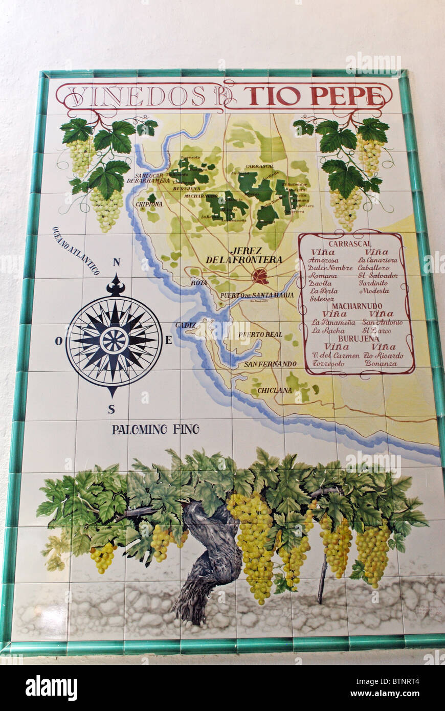 Chipiona Spain Map.Ceramic Map Of Vineyards Outside The Gonzales Byass Bodega Jerez De