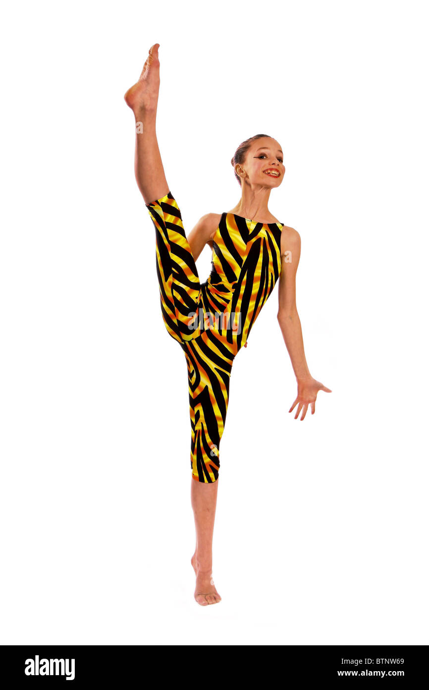 Young dancer doing high kick in tiger pattern dancing costume  sc 1 st  Alamy & Young dancer doing high kick in tiger pattern dancing costume Stock ...