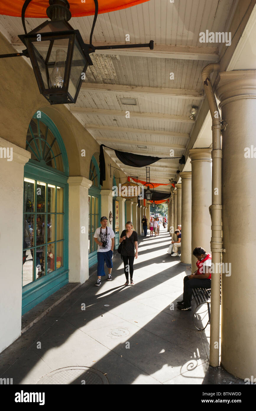 French Market District, Decatur Street, French Quarter, New Orleans, Lousiana, USA - Stock Image