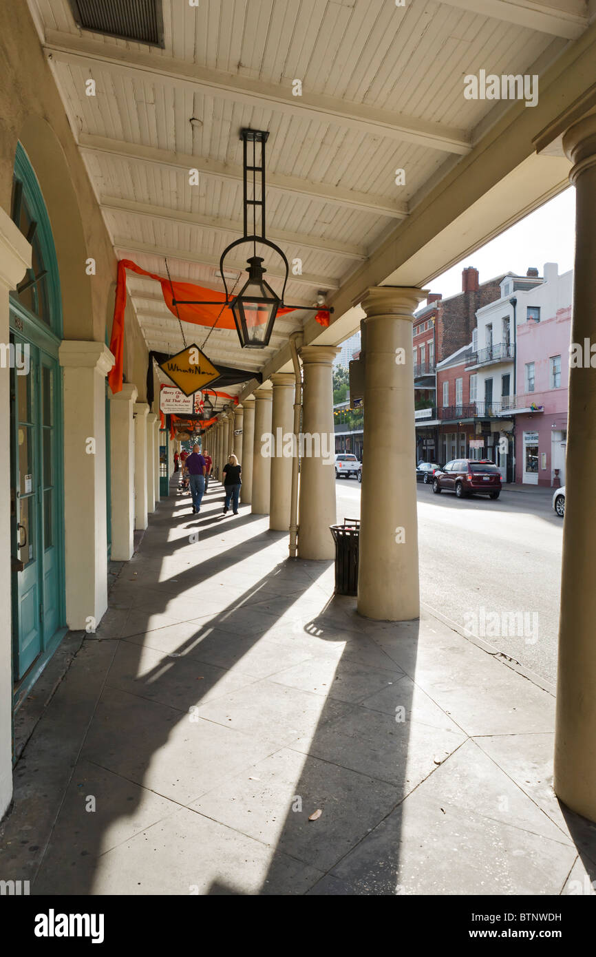 French Market District on Decatur Street, French Quarter, New Orleans, Lousiana, USA - Stock Image