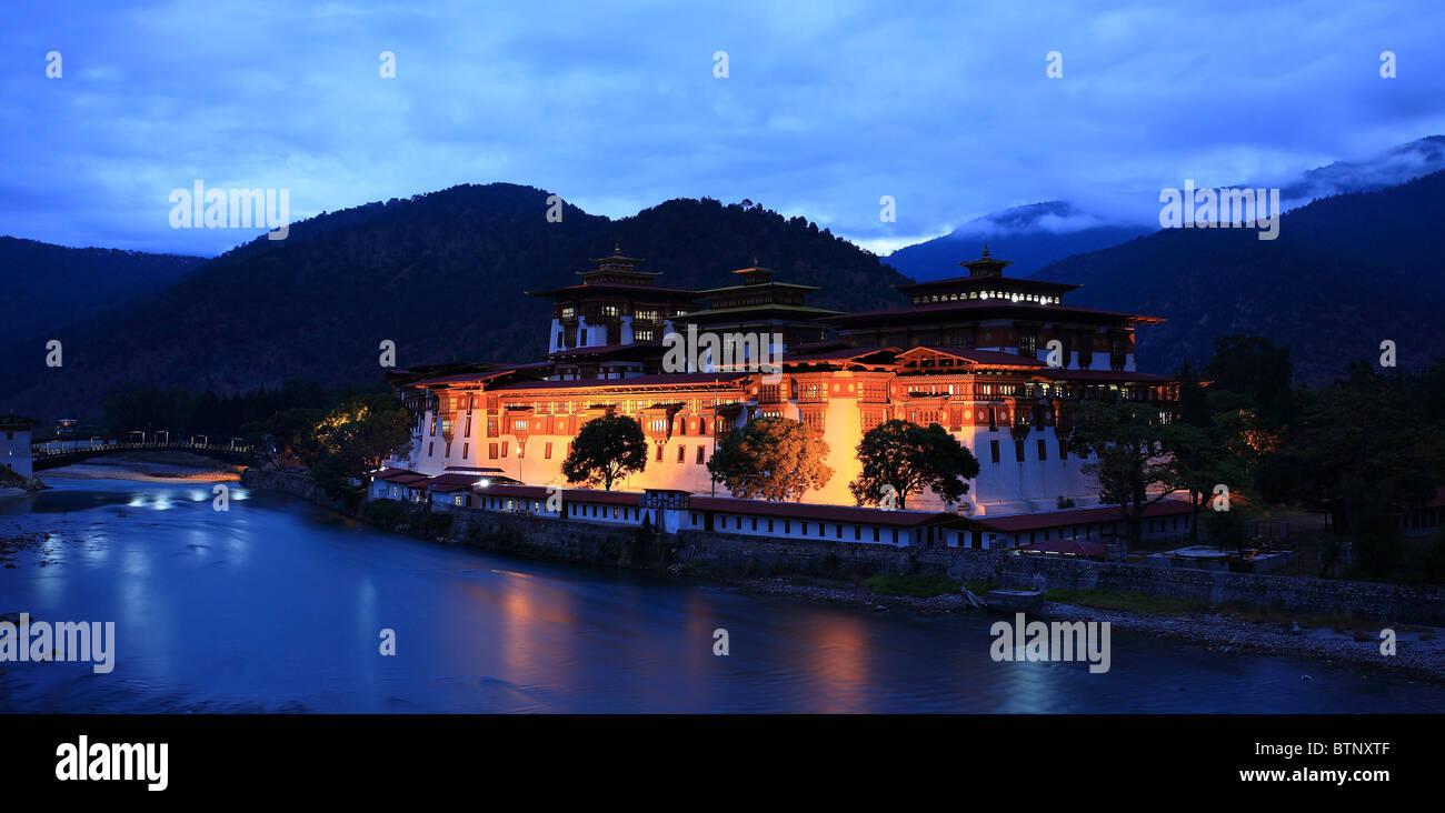 Punakha Monastery, Bhutan at Dawn - Stock Image