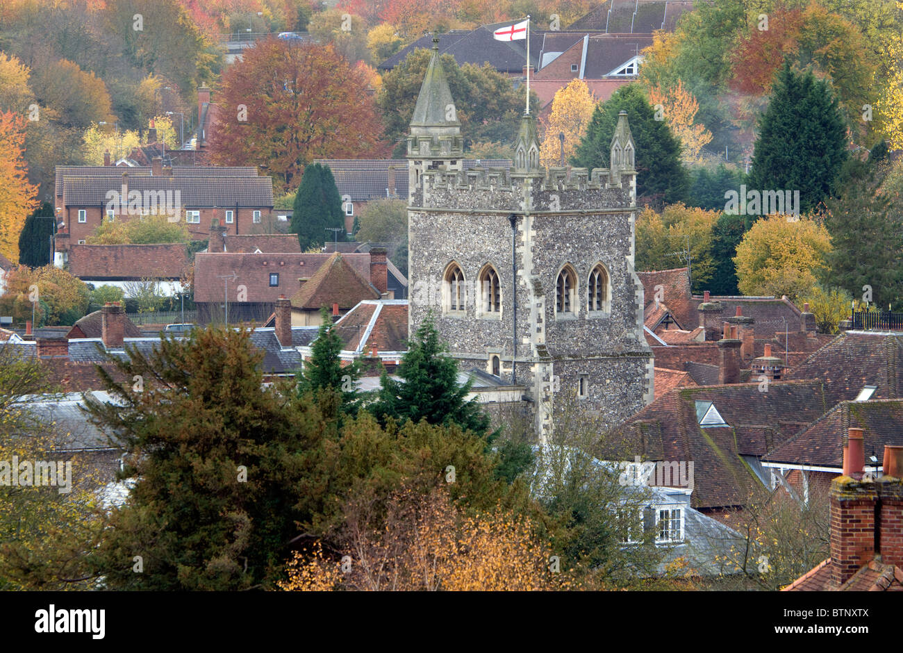 A Chilterns landscape view of old Amersham, the parish church tower dominates the Autumn scene - Stock Image