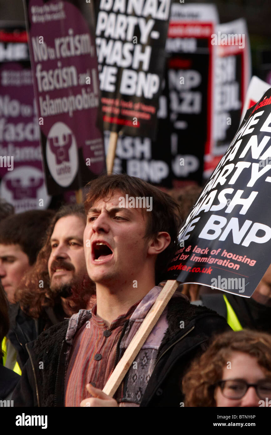 Thousands of supporters of United Against Fascism (UAF) and Love Music Hate Racism march through Central London. - Stock Image