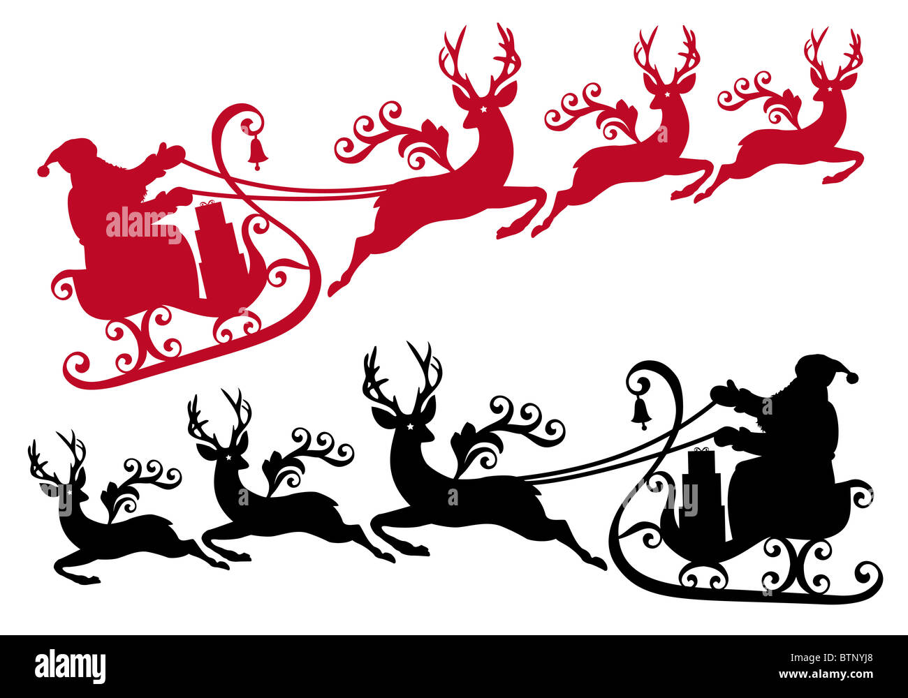 santa with his sleigh and reindeer, christmas background - Stock Image