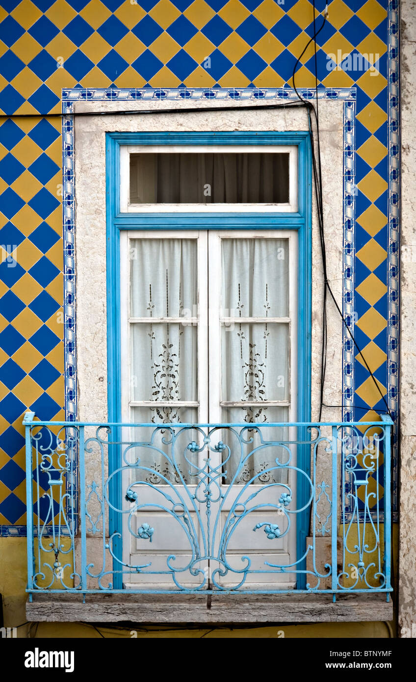 Window,balcony and tiles - typical Lisbon architecture - Stock Image