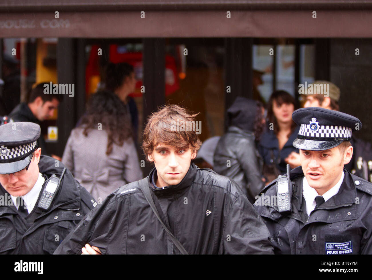 Man is arrested after attending an illegal rave in Central London - Stock Image