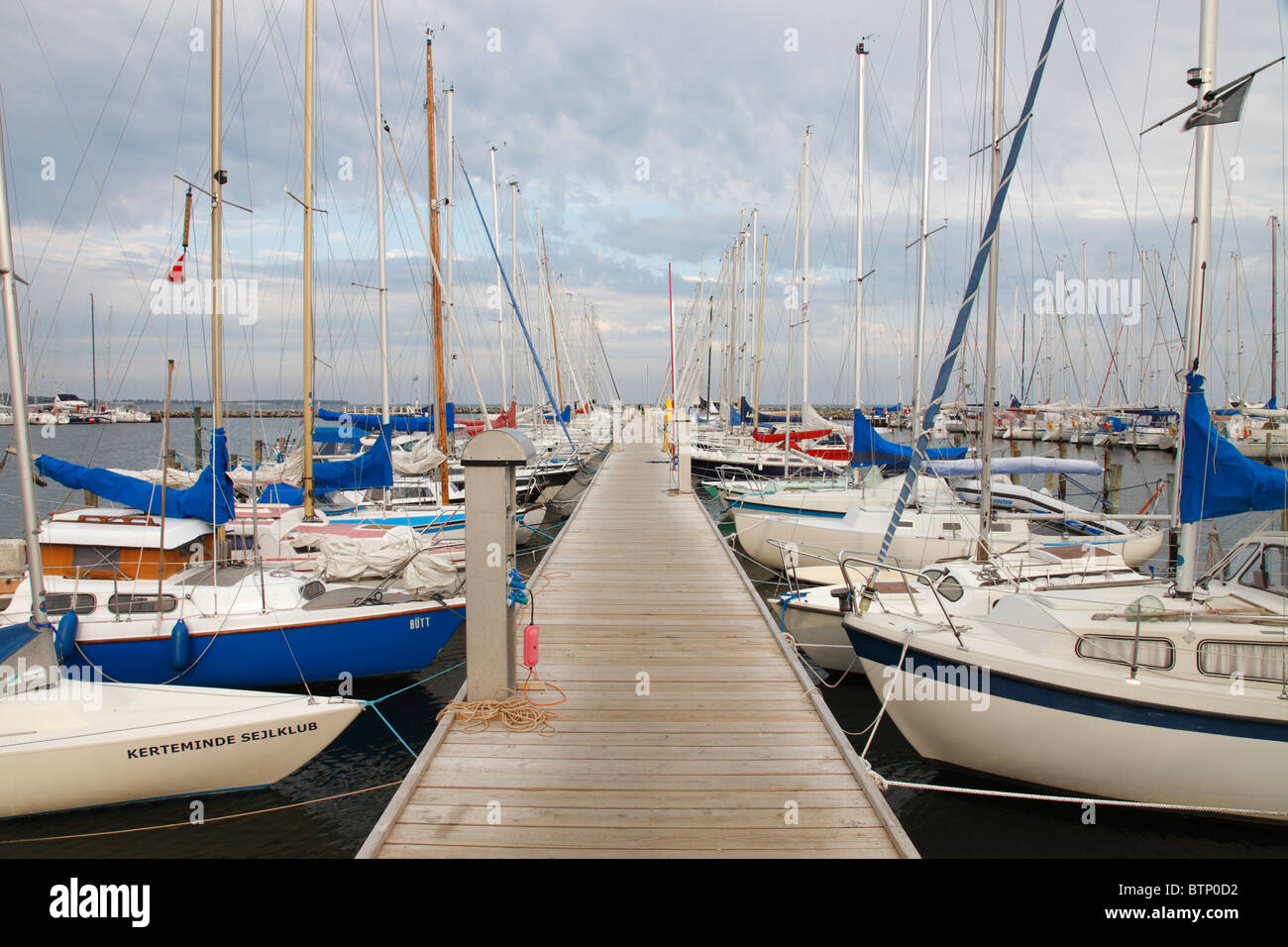small sailing boats of the Kerteminde sailing club (Kerteminde Sejlklub) - Stock Image