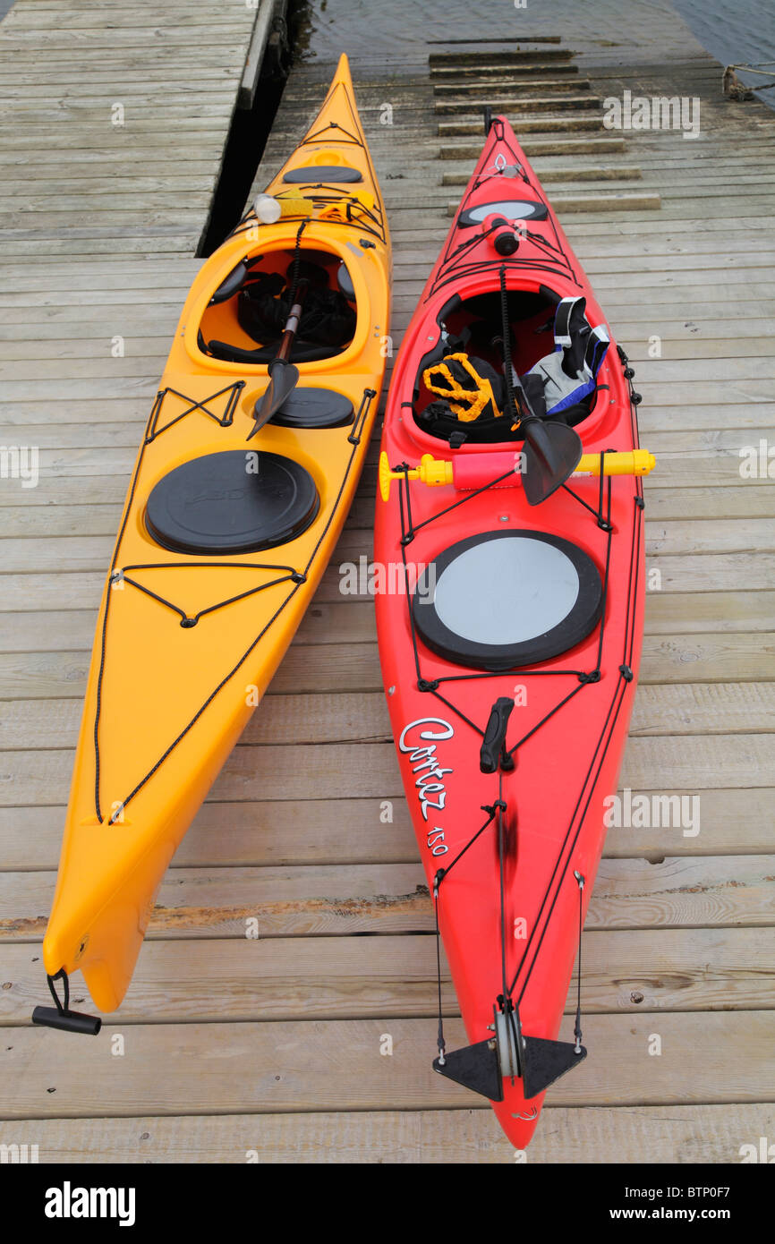 single seater canoes - Stock Image