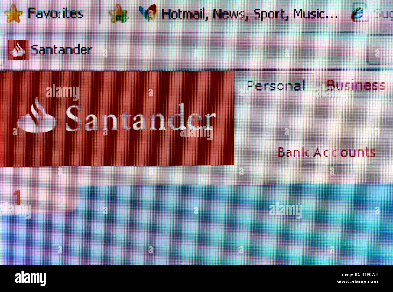 a screen shot of the Santander internet banking website - Stock Image