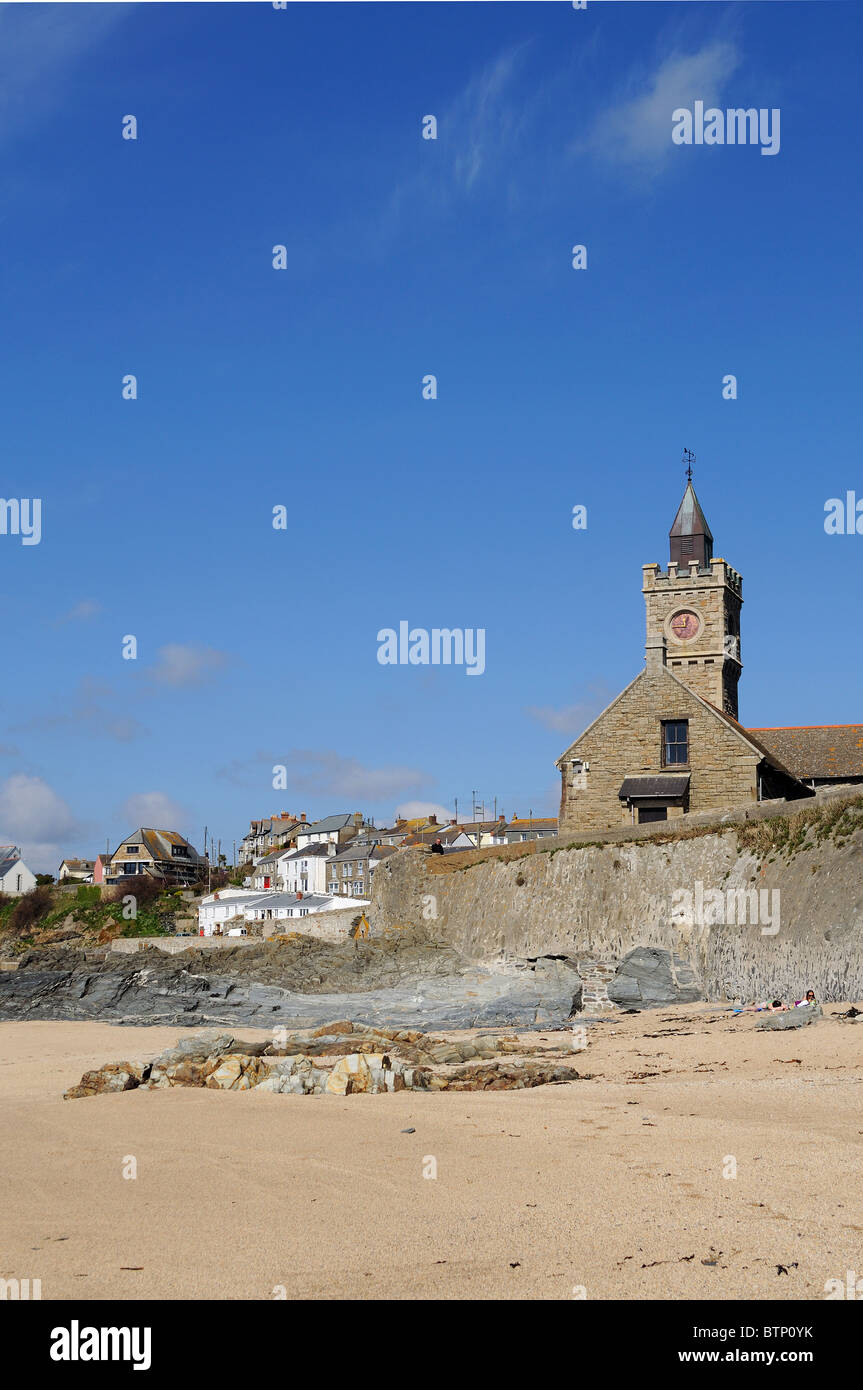 the quiet secluded beach at Porthleven in Cornwall, UK - Stock Image