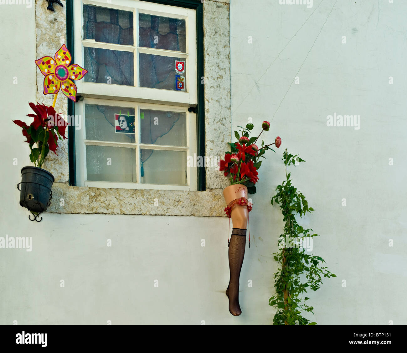 Unusual Plant Pot, Alfalma District, Lisbon, Portugal   Stock Image