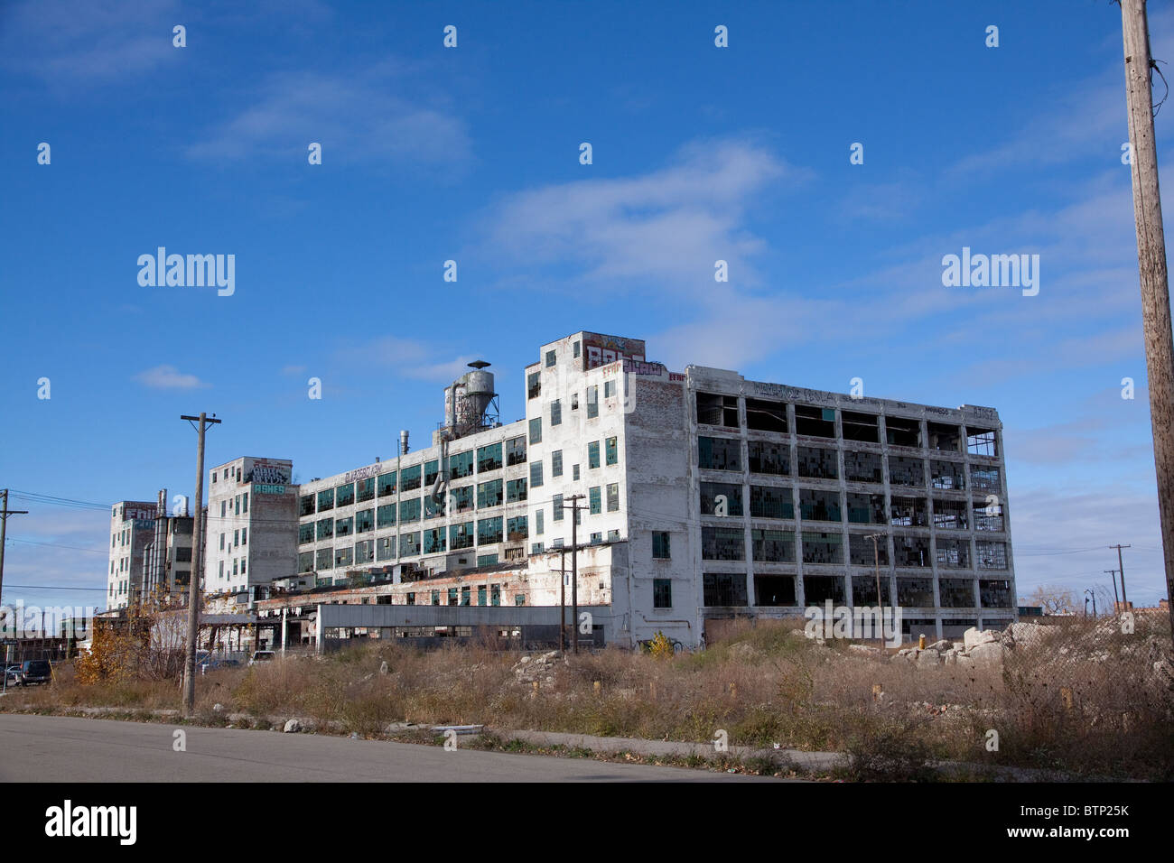 Vacant Commercial building East side of Detroit Michigan USA - Stock Image