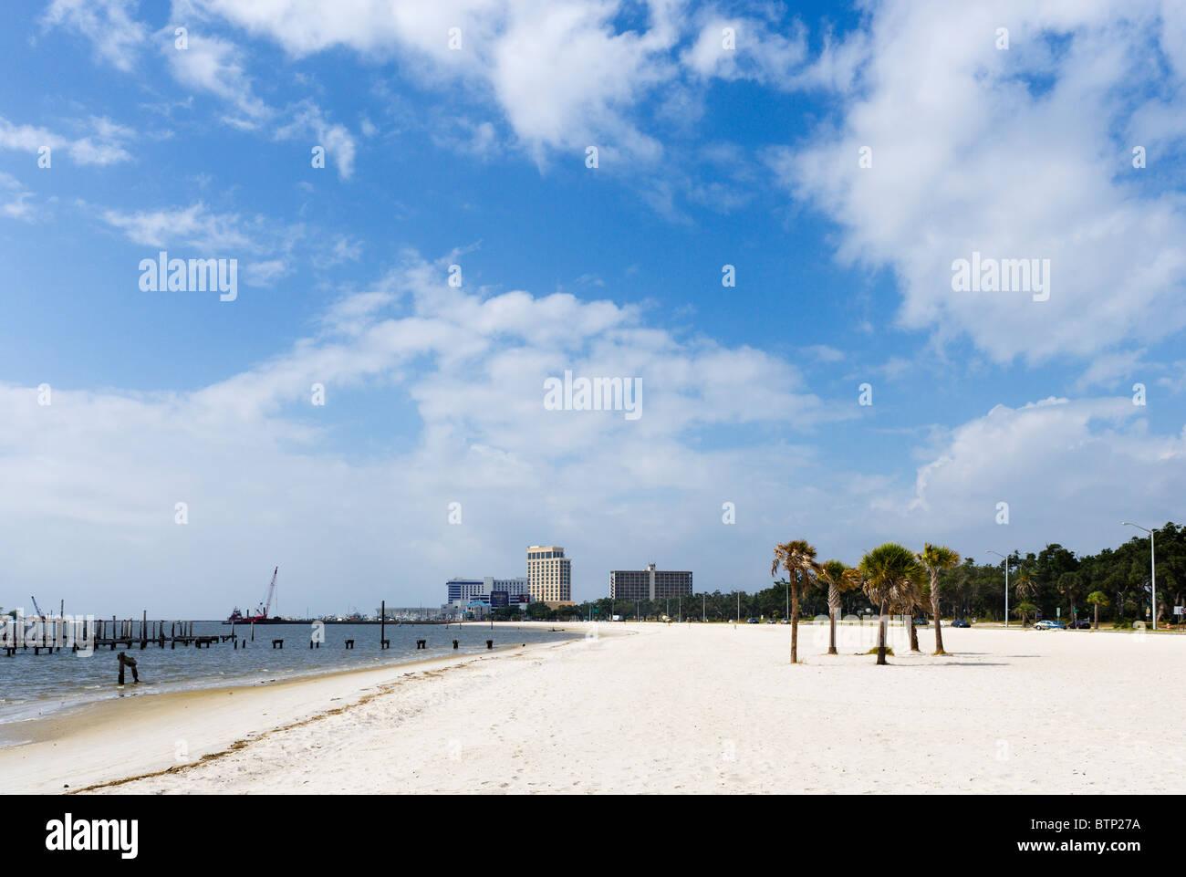 Beach at Biloxi, Gulf Coast, Mississippi, USA - Stock Image