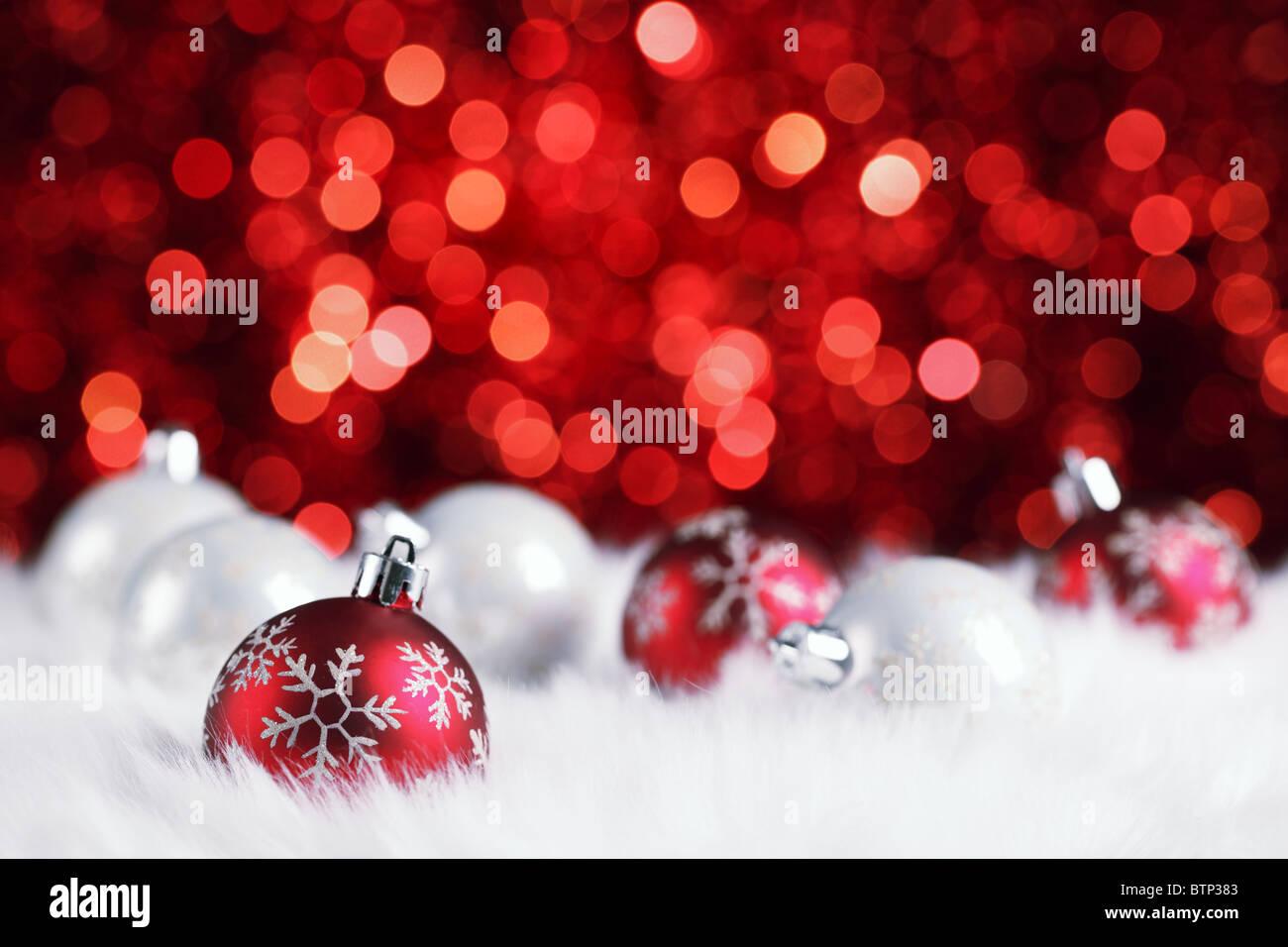 christmas ball on abstract light background,Shallow Dof. - Stock Image