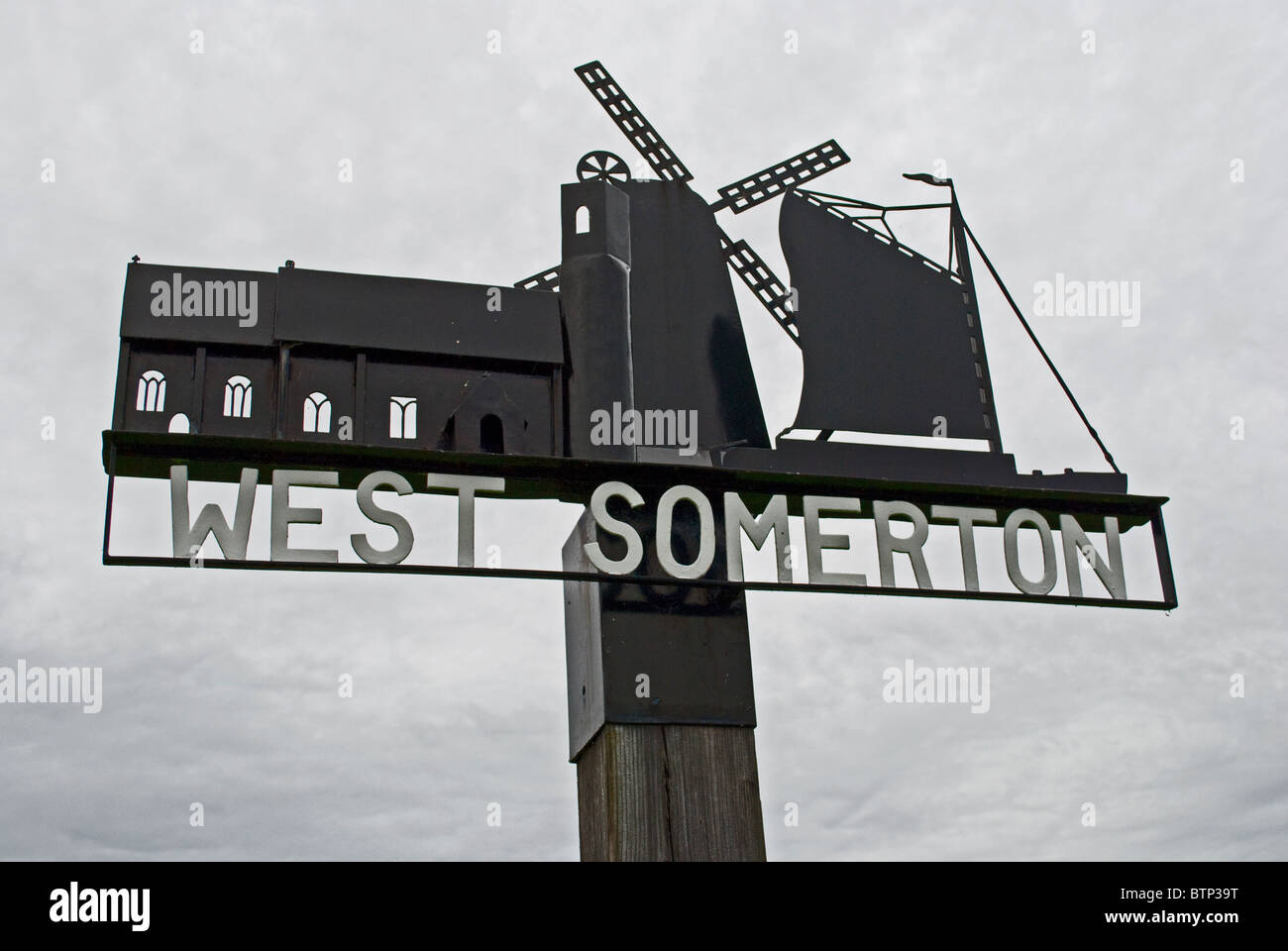 West Somerton sign, Norfolk. - Stock Image
