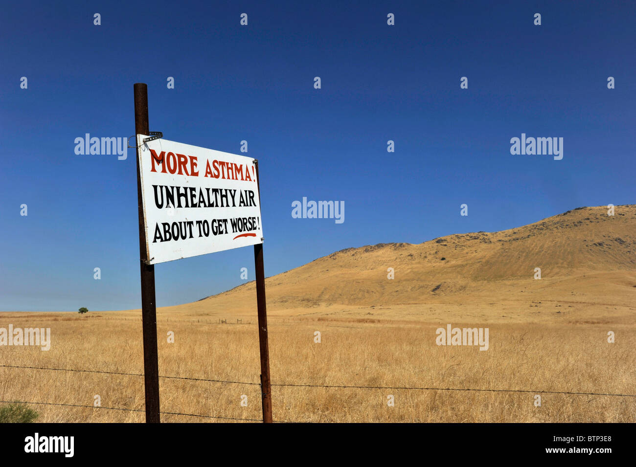 Air pollution sign California - Stock Image