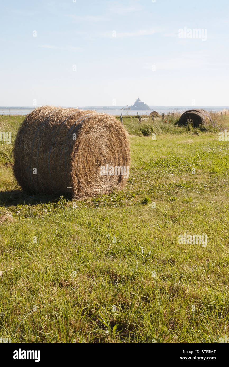 France, Normandy, Hay bale and Mont St Michel - Stock Image