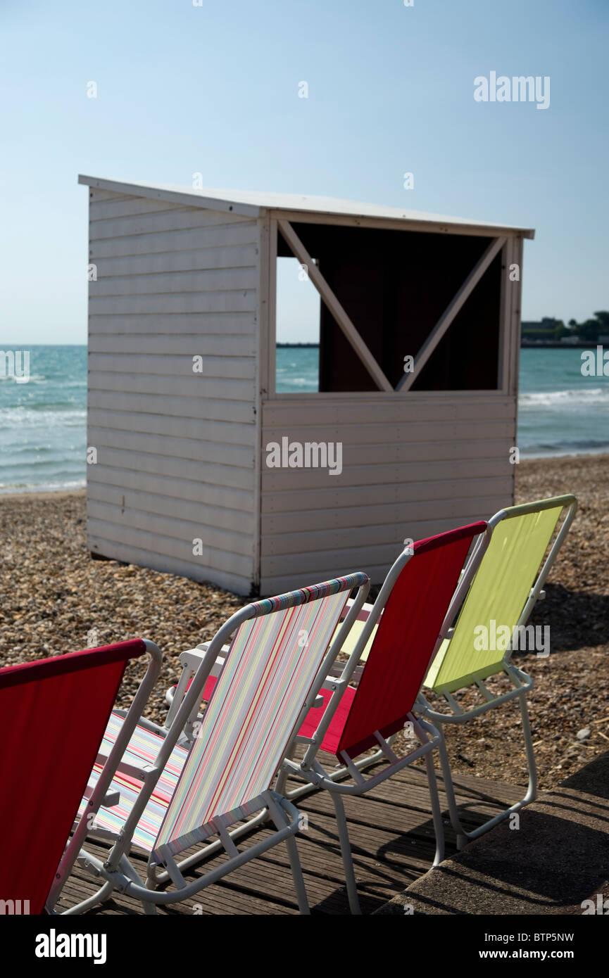 Beach Hut, Dorset, UK - Stock Image