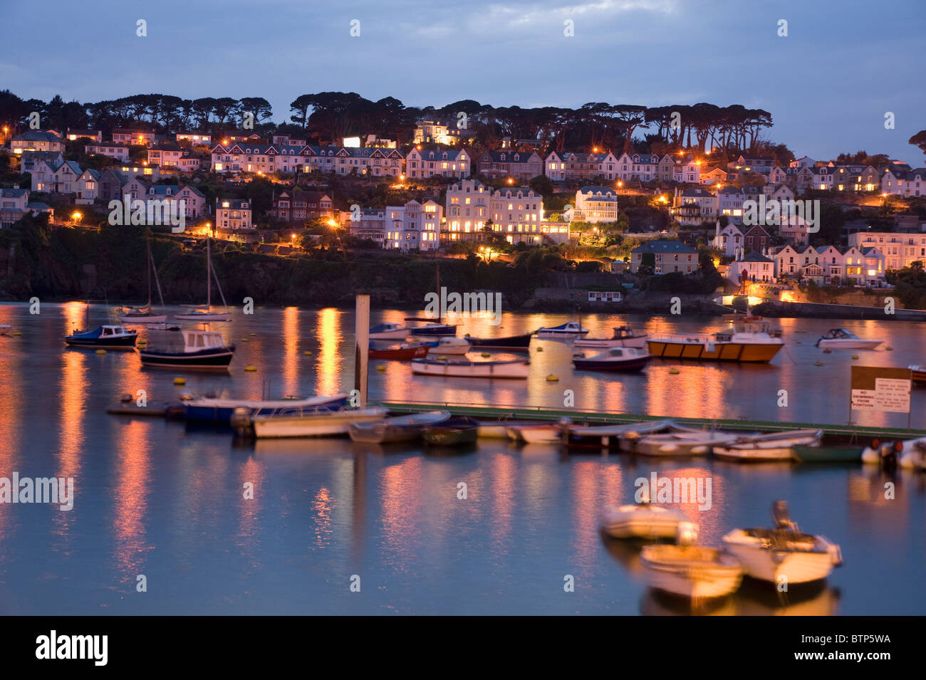 Pol Ruan, Fishing Town, at Dusk, Cornwall, UK - Stock Image