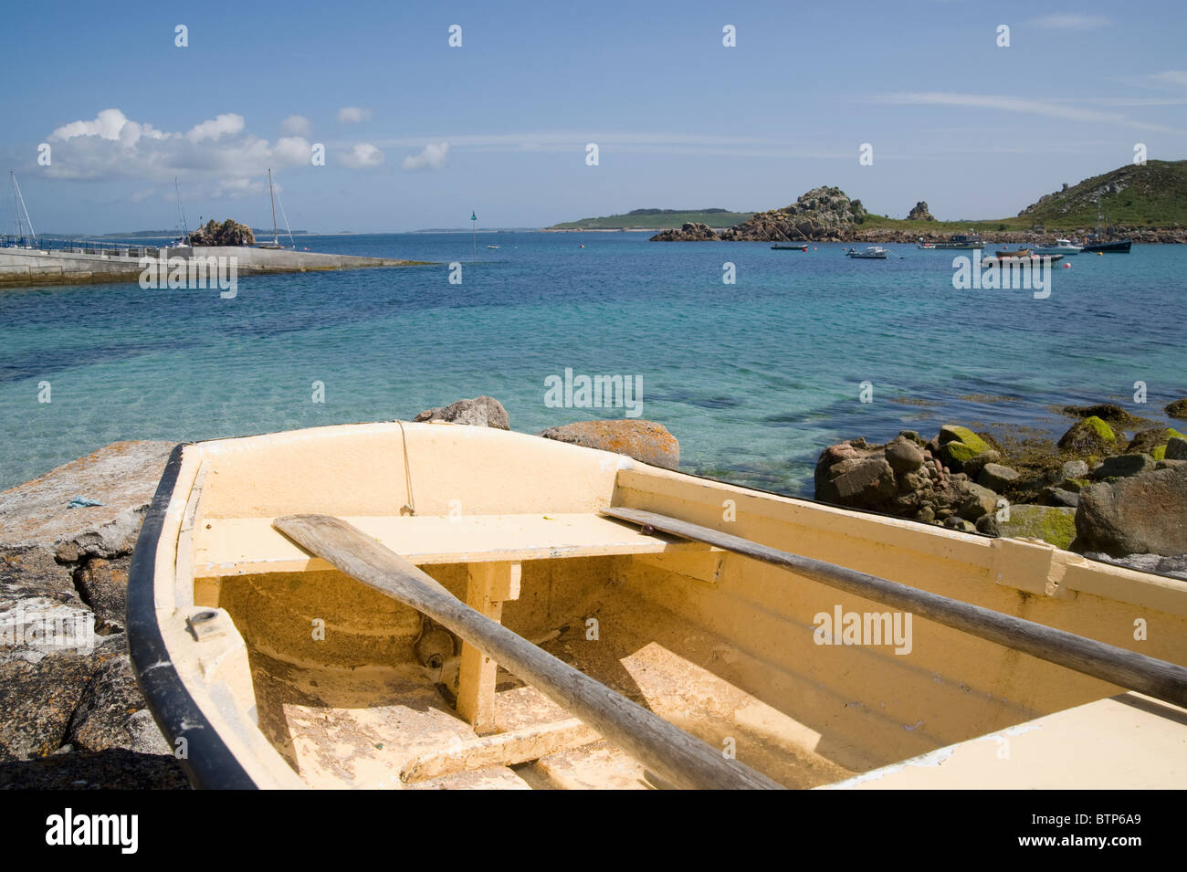 Rowing Boat on St. Agnes, Isles of Scilly, UK. - Stock Image