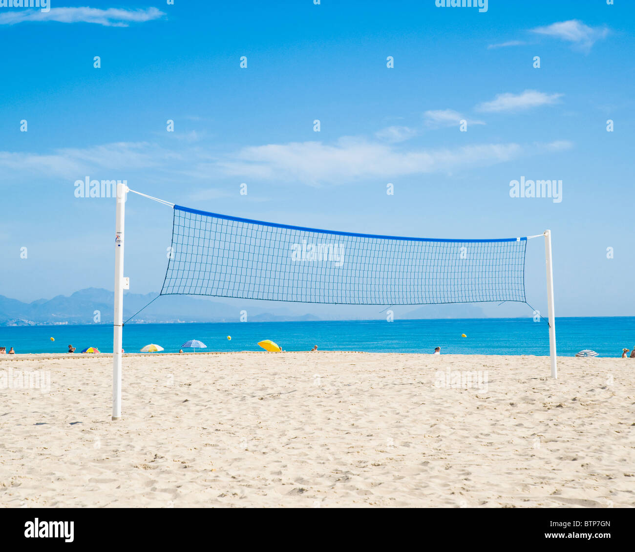 Volleyball Net, Benidorm, Costa Blanca, Spain - Stock Image
