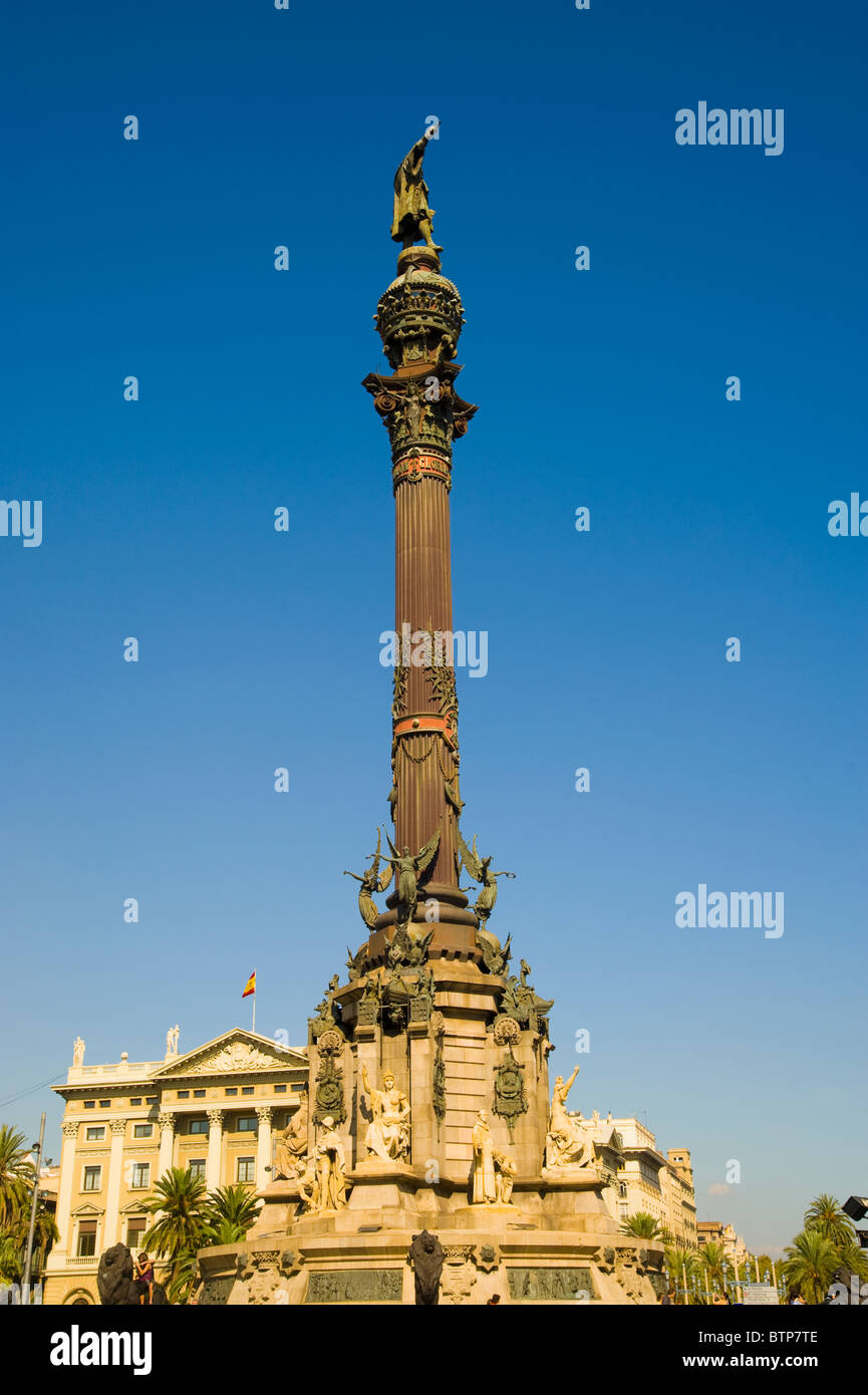 Colombus Column, Barcelona, Spain - Stock Image
