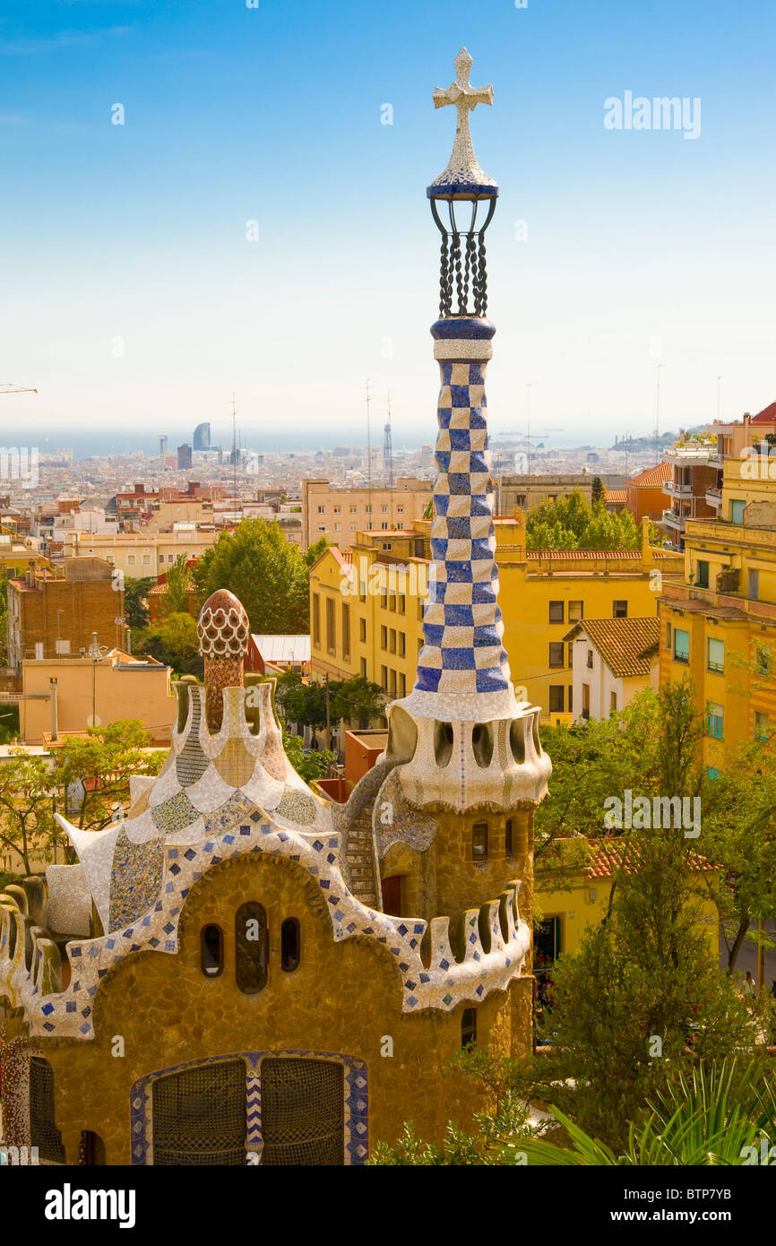 Parc Guell by Antoni Gaudi, Barcelona, Spain - Stock Image