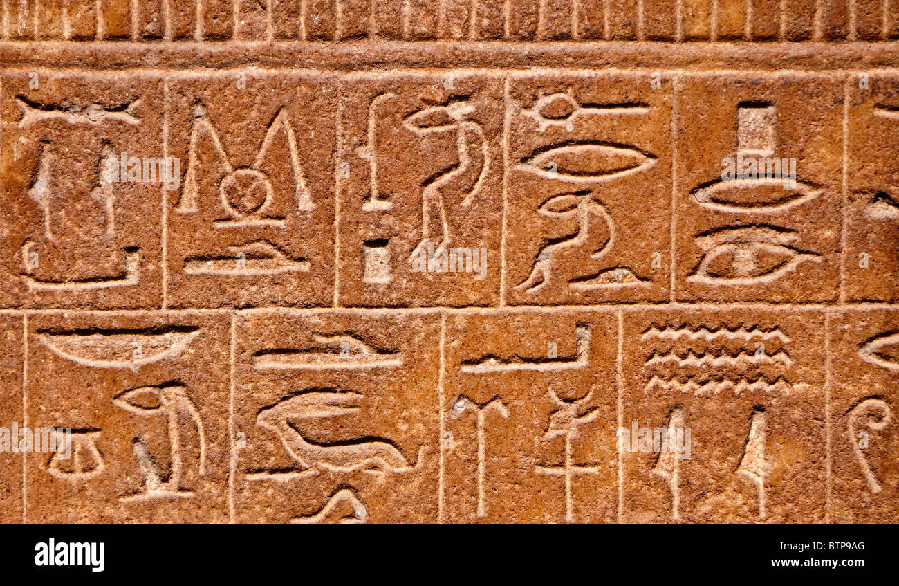 Egyptian hieroglyphs background - Stock Image