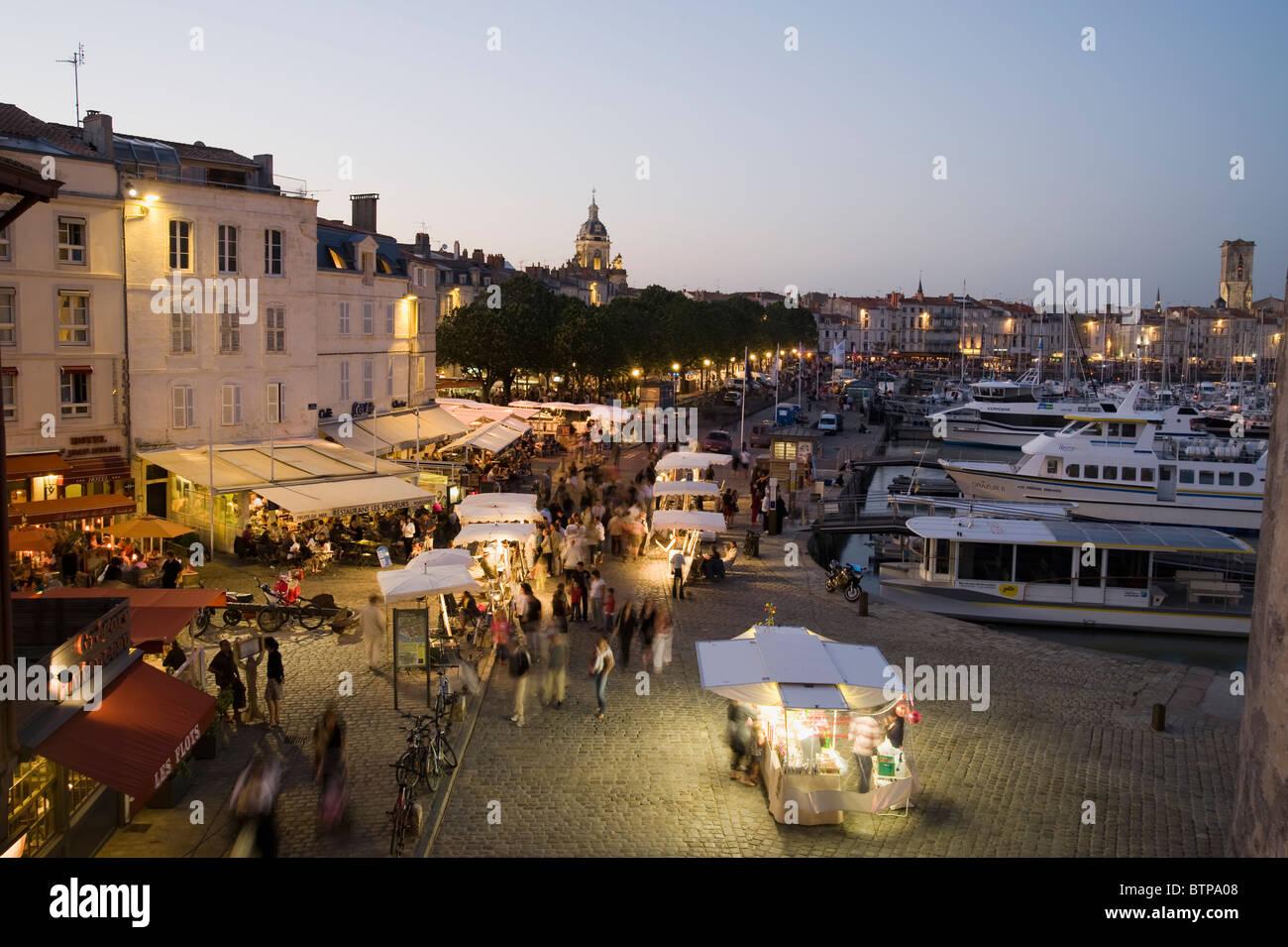 The old harbour; Dusk, La Rochelle; Charente-Maritime; France - Stock Image